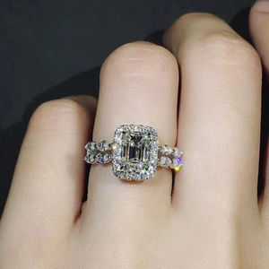 Princess Cut White AAA Cubic Zirconia Silver Ring